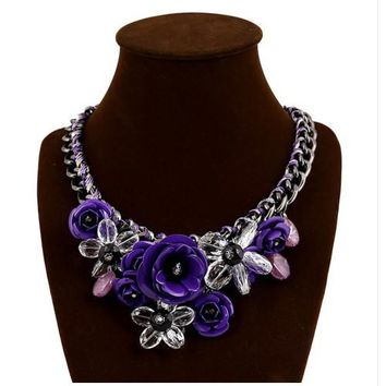 BEADY FLORAL CHOKER NECKLACE - PURPLE