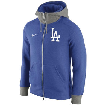 L.A. Dodgers Nike Logo Blended 1.4 Full Zip Hoodie - Royal Blue