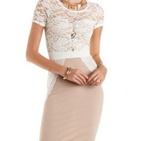 Lace Overlay Bodycon Dress by Charlotte Russe - Nude Combo