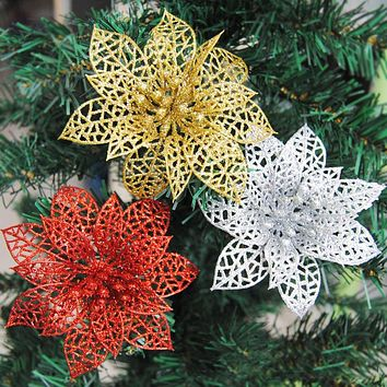 10pcs Colourful Glitter Artificial Hollow Flowers Wedding Party Christmas Xmas Tree Home Valentine's Day Decorations