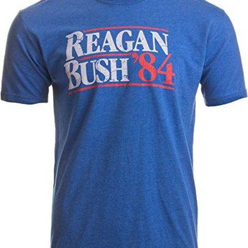 Reagan Bush '84 | Vintage Style Conservative Republican GOP Unisex T-shirt-Adult,XL