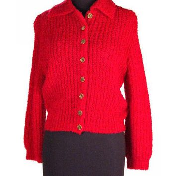 Vintage Schiaparelli Sweater Raspberry Wool  1950S Large