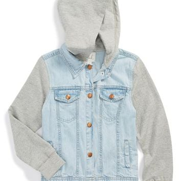 Girl's Peek 'Phoenix' Hooded Knit Sleeve Denim Jacket