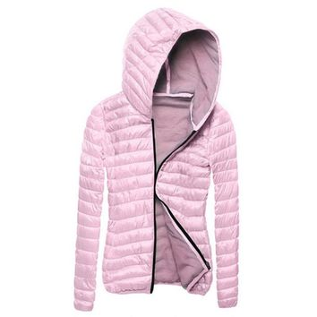 Women Winter Coat Women Slim Padded Hooded Collar Outwear Coat Zipper Jacket