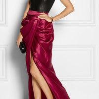 Balmain | Draped wool and silk-blend satin wrap maxi skirt | NET-A-PORTER.COM