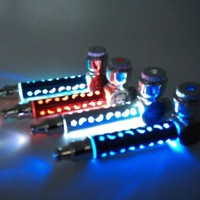 New C 1pcs MINI tobacco Pipe Metal Smoking Pipe Weed Pipe With LED Flash Light for free shipping