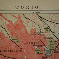 TOKYO old map of Tokyo Japan 1904 original antique city plan about Tokio vintage detailed maps with year date 15x25c 6x10""