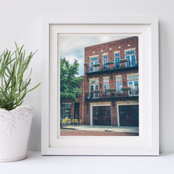 Wilmington print, brick building, architecture photography, fine art photography, travel photography, North Carolina, home decor, wall art