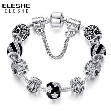 ELESHE Tibetan Silver Flower Charm Bracelet & Bangle with Black Enamel Clear CZ Beads Friendship Bracelets for Women Jewelry