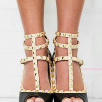 Saturday Stroll Black Studded Peep Toe Strappy Heels
