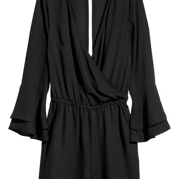 V-neck playsuit - Black - Ladies | H&M GB
