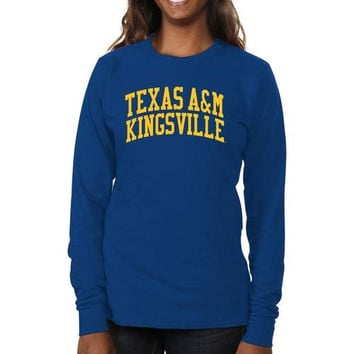 Texas A&M Kingsville Javelinas Ladies Basic Arch Long Sleeve Slim Fit T-Shirt - Royal Blue