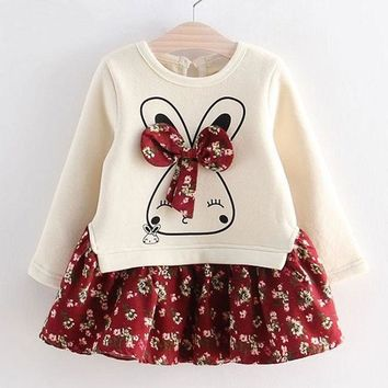 Girls Long Sleeve Dress Cute Rabbit and Flowers Printed 2017 Winter Autumn Baby Girl Dresses Princess Vestidos