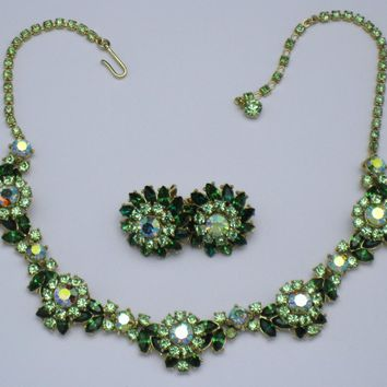 CROWN TRIFARI Vintage 1960s Radiance Necklace & Earrings Emerald Peridot Rhinestone SET Demi Parure