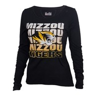 The Mizzou Store - Mizzou Under Armour Juniors' Distressed Tiger Head Black Long Sleeve T-Shirt