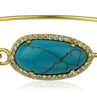 925 Sterling Silver Oval Shaped Turqoise with Cz Stones Bangle Bracelet