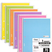 """Mead Spiral Notebook, College Ruled, 1 Subject, (05201), 10.5"""" X 7.5"""", 70 Sheets Each, 6 Pack"""