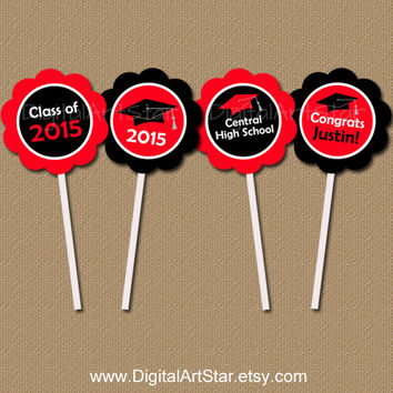 Personalized DIY Graduation Cupcake Toppers - Class of 2015 - Red and Black - Custom Colors - Graduation Printable Party Circles