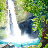 Original Watercolor Waterfall Painting, La Fortuna, Costa Rica, 12x16, Water, Landscape, Tropical, Nature, Travel, Woods, Rainforest