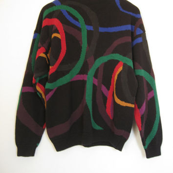 90s Colorful Black Abstract PERRY ELLIS Sweater Cotton Knit Pullover Geometric Cosby Graphic Hip Hop Surf Club Kid Pastel Goth Rave // XL