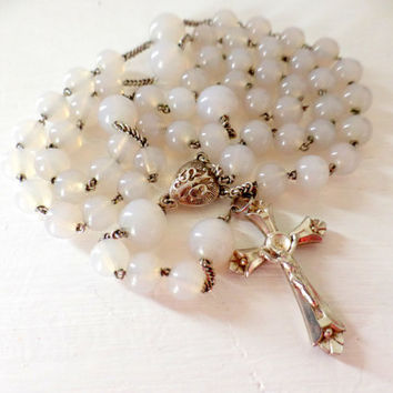 Antique French,  Hallmarked Silver, Opaline Rosary, SHIPPING INCLUDED