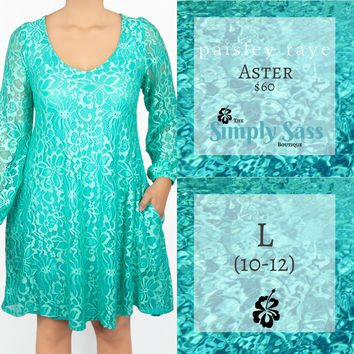 Aster Popover Dress - Teal Lace (L)