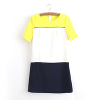 Round-neck Short Sleeve 3-color Mosaic One Piece Dress [4917786756]