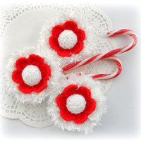 Crochet Christmas Ornament, Holiday Decoration Snowflake White Red Flower Applique - Set of 3