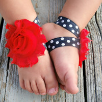 Baby Barefoot Sandals .. Red Flowers on Navy and White Elastic .. Toddler Sandals .. Newborn Sandals