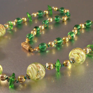 Venetian Foil Glass Bead Necklace, Green Yellow Murano, Hand Knotted Strand