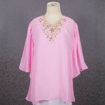 Chiffon Embroidery Blouse Tops Namee Kaftan Light Pink Caftan Dress