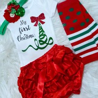 Baby Girls First Christmas Outfit, Baby Girls 1st Christmas Onesuit Set, Newborns, Infants, Toddlers Clothes