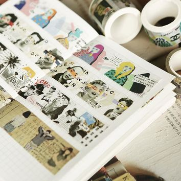 Retro Poster Paper Washi Tape Set Japanese Stationery Scrapbooking Decorative Tapes For Photo Album & Home Decoration
