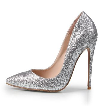 Brand Women Pumps 12CM High Heels Silver Glitter Wedding Shoes W 835e2694918c