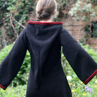 Gothic dress - Festival Elf Dress - Medieval Tunic with Pixie Pointy Hood - Game of Thrones  - Black with Red trim - PSY hoodie  elven dress