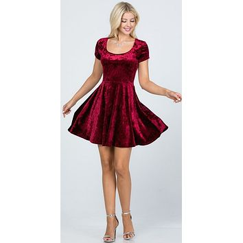 Crushed Velvet Short Sleeve Skater Dress Burgundy