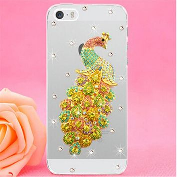 New Luxury 3D Peacock Bird bling Crystal diamond Mobile phone Shell Back Cover Skin Hard Case For Apple iphone 5C Iphone5C