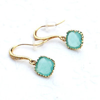 Bridesmaids earrings gifts Vermeil gold and a square Tiffany Blue earrings Pastel fashion