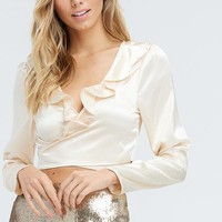 Cupid Ruffle Wrap Top in Champagne