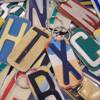 PICK Your Initial KEY CHAIN - Recycled - Repurposed - Upcycled Initial License Plate Keychain Key Ring Key Fob Gift for Her Gift For Him