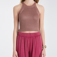 Sweater Knit High Neck Crop Tank | Wet Seal