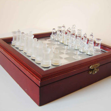 Vintage Luxury Chess Set in Original wooden Box with a Glass Board  -  Very Good Condition Great Gift