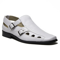 New Men's 33308 Leather Lined Double Buckle Closed Toe Sandals