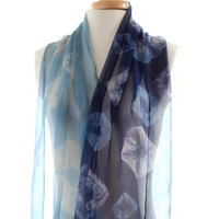 Blue silk chiffon scarf, naturally dyed scarf, indigo shibori silk scarf, black bean logwood indigo dyed, christmas gift for her, blue ombre