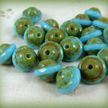 Czech Glass Beads, Picasso Beads - Turquoise Blue Saucer (0958) - Czech Glass Saucer Beads - 8x10mm - Qty 12