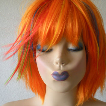 Scene wig. Lolita  wig. Orange wig.rainbow highlight wig.Red/ green/ yellow/Turquoise.color wig.