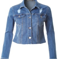 LE3NO Womens Distressed Long Sleeve Cropped Denim Jacket with Raw Hem (CLEARANCE)