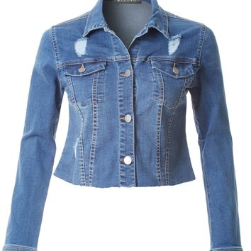LE3NO Womens Distressed Long Sleeve Cropped Denim Jacket with Raw Hem