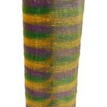 21in x 30ft Metallic Purple/ Green/ Gold Multi Band Mesh Ribbon