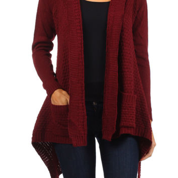 Hooded Open Front Knit Cardigan